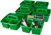 Green - Storex Small Caddy 9.25 X9.25 X5.25  Organize your essential supplies for easy use and storage. The Caddy features three compartments (one large and two small); a comfort grip handle with no sharp edges; stacks and nests deeply; and is completely washable and dishwasher safe. Made of impact resistant plastic. Comes in a variety of colors. Each sold separately. This package contains one 9.25X9.25X5.25 inch small caddy with three compartments. Imported.