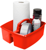 Red - Storex Large Caddy 13 X11 X6.375  Organize your essential supplies for easy use and storage. The Caddy features two compartments; a comfort grip handle with no sharp edges; stacks and nests deeply; and is completely washable and dishwasher safe. Made of impact resistant plastic. Comes in a variety of colors. Each sold separately. This package contains one 13X11X6.375 inch large caddy with two compartments. Imported.