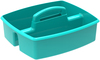 Teal - Storex Large Caddy 13 X11 X6.375  Organize your essential supplies for easy use and storage. The Caddy features two compartments; a comfort grip handle with no sharp edges; stacks and nests deeply; and is completely washable and dishwasher safe. Made of impact resistant plastic. Comes in a variety of colors. Each sold separately. This package contains one 13X11X6.375 inch large caddy with two compartments. Imported.