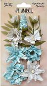 Blue - 49 And Market Vintage Shades Cluster Flowers 13/Pkg