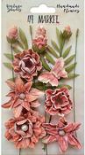 Cerise - 49 And Market Vintage Shades Cluster Flowers 13/Pkg