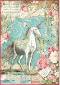Wonderland Unicorn - Stamperia Rice Paper Sheet A4