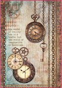 Clockwise Clock & Keys - Stamperia Rice Paper Sheet A4