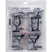 "Cocktails Blueprint - Tim Holtz Cling Stamps 7""X8.5"""