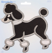 Large Poodle, Black W/Gray Embroidery - Wrights Iron-On Applique
