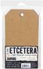 Tim Holtz Etcetera Mini Tag Etcetera is a line of laser cut creative shapes to be collaged, altered and embellished. These sturdy tags are laser cut from thickboard. This package contains four 4.5x 8 inch mini tags and four reinforcing rings.