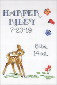 """Baby Deer Sampler (14 Count) - Janlynn Counted Cross Stitch Kit 5""""X7"""""""