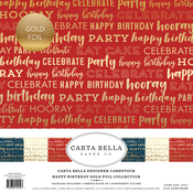 "Happy Birthday W/Gold Foil - Carta Bella Collection Kit 12""X12"" 6/Pkg"