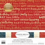 "Happy Birthday W/Gold Foil - Carta Bella Collection Kit 12""X12"" 6/Pkg"