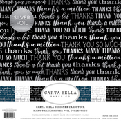 "Many Thanks W/Silver Foil - Carta Bella Collection Kit 12""X12"" 6/Pkg"
