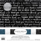 "Many Thanks W/Silver Foil - Carta Bella Collection Kit 12""X12"" 6/Pkg"