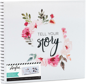 "White Floral - Heidi Swapp Storyline 2 Post Bound Album 12""X12"""