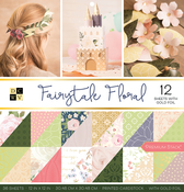 "Fairytale Floral, 12 W/Gold Foil - DCWV Double-Sided Cardstock Stack 12""X12"" 36/Pkg"