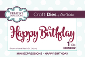 Mini Expressions-Happy Birthday - Creative Expressions Craft Dies By Sue Wilson