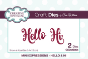 Mini Expressions-Hello & Hi - Creative Expressions Craft Dies By Sue Wilson