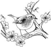 """Blossom Robin - Crafty Individuals Unmounted Rubber Stamp 2.75""""X3.75"""""""