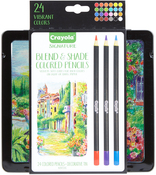 Assorted Colors 24/Pkg - Crayola Signature Blend & Shade Colored Pencils W/Tin