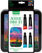 Assorted Colors 16/Pkg - Crayola Signature Acrylic Paint Set W/Tin