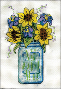 """Floral Jar (18 Count) - Design Works Stitch & Mat Counted Cross Stitch Kit 3""""X4.5"""""""