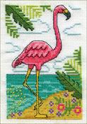 "Flamingo (18 Count) - Design Works Stitch & Mat Counted Cross Stitch Kit 3""X4.5"""