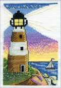 """Lighthouse (18 Count) - Design Works Stitch & Mat Counted Cross Stitch Kit 3""""X4.5"""""""
