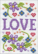 """Love (18 Count) - Design Works Stitch & Mat Counted Cross Stitch Kit 3""""X4.5"""""""
