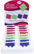 "White Dots on Assorted Colors - Allary 60"" Automatic Tape Measures in Counter Display 16/Pkg"