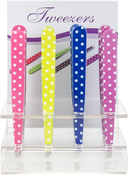 White Dots on Assorted Color Handles - Allary Tweezers W/Acrylic Counter Display 16/Pkg