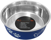 Navy - Pet Nautic Fusion Plastic/Stainless Steel Bowl 10oz The stainless steel dog food bowl will not rust, crack or show scratches. The outside is cover with a plastic coating in a selection of colors to match your home decor. This package contains one 10oz dog bowl. Dishwasher safe. Comes in a variety of colors. Each sold separately. Imported.