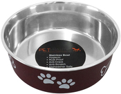 Merlot - Pet Nautic Fusion Plastic/Stainless Steel Bowl 32oz