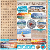 """At The Beach Alpha Stickers 12""""X12"""""""