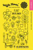 """Grow Happiness - Waffle Flower Crafts Clear Stamps 4""""X6"""""""