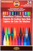 Assorted Colors - Progresso Woodless Color Pencils 24/Pkg