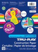 """120 Sheets/Pkg, Assorted Colors - Pacon Tru-Ray Smart Stack Construction Paper 12""""X18"""""""