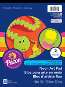 """20 Sheets, Assorted Colors - Pacon Neon Art Construction Paper Pad 9""""X12"""""""
