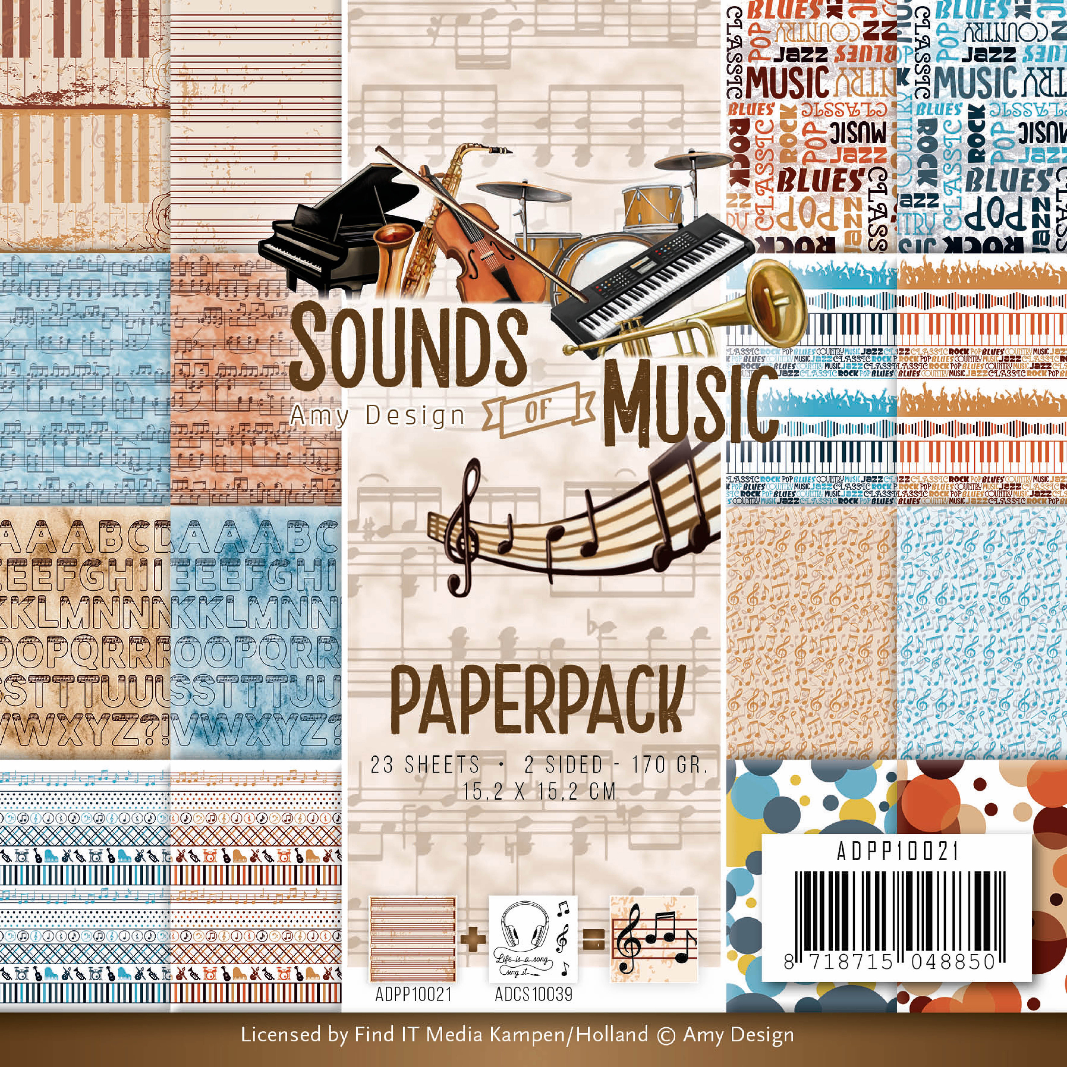 Sounds Of Music, Double-Sided - Find It Trading Amy Design Paper Pack 6
