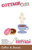 Coffee & Donuts .06  To 1.9  - CottageCutz Die With design styles that are cute and adorable, fun and whimsical, and classically elegant these universal wafer- thin dies make a great addition to your paper crafting supplies. Cut amazing shapes out of paper, cardstock, adhesive-backed paper, vinyl, vellum and more. They are made from American steel and are universal dies designed to work with all leading brand die-cutting machines on the market. This die has an easy release coating along with pin holes that aids in the removal of the cardstock. This package contains Coffee and Donuts: One 2.5x1.875 inch metal die. WARNING: May contain items with sharp edges. Handle with care. Made in USA.
