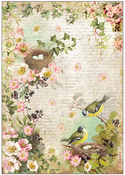 Peach Flowers & Nest - Stamperia Rice Paper Sheet A4