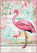 Pink Flamingo - Stamperia Rice Paper Sheet A4