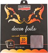 "Metallic Silver - Decor Foil 5.5""X5.5"" 5/Pkg"