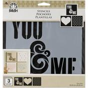 "You & Me - FolkArt Craft Stencils Value Pack 8""X8"""