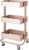 Rose Gold - 3-Tier Metal Rolling Cart
