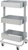 Grey - 3-Tier Metal Rolling Cart - PRE ORDER