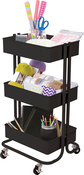 Matte Black - 3-Tier Metal Rolling Cart