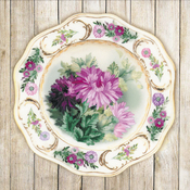 "Plate W/Chrysanthemums - RIOLIS Satin Stitch Kit 8.25""X8.25"""