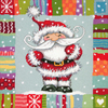 Patterned Santa Stitched In Yarn - Dimensions Needlepoint Kit 14 inches X14 inches Dimensions-Patterned Santa. A plethora of patterns surrounds a whimsical Santa in this needlepoint design stitched predominantly in yarn. Patterned Santa by Dimensions will brighten your holiday decor whether framed or finished as a pillow. Finished size 14x14 inches. Illustrated by Gill Cooper. Courtesy of www.image-source.co.uk. Kit contains presorted wool and acrylic yarn, cotton thread, 12 mesh canvas printed in full color, needle, and instructions. Pillow finishing materials are not included. Imported.