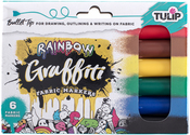 Rainbow - Bullet Tip - Tulip Graffiti Fabric Markers 6/Pkg