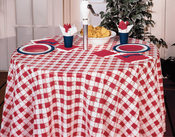 "Red - Gingham Plastic Tablecover 82"" Octy-Round"