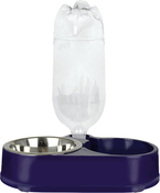 Navy Blue Pet Zone Dog Deluxe Food-N-Fountain