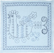 Rooster W/Blue Flower - Sashiko World Russia Stamped Embroidery Kit